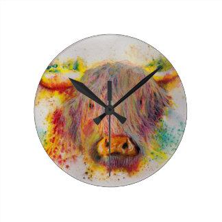 Highland Cow Round Clock