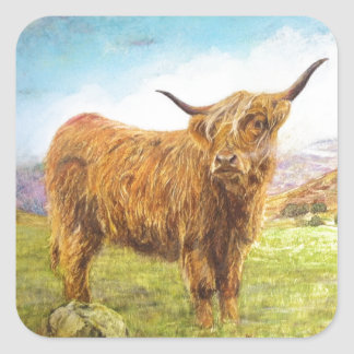 Highland Cow Square Sticker