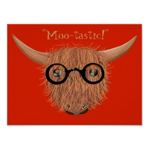 Highland Cow Wears Hippy Specs Moo-tastic Poster