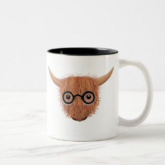 Highland Cow Wears Spectacles Mug