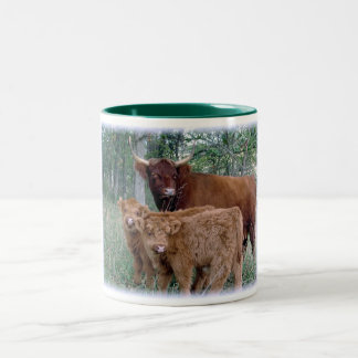 Highland Cow with Calves Two-Tone Coffee Mug