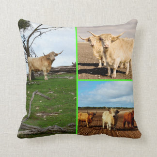 Highland_Cows_Photo_Collage_Cotton_Lounge_Cushion. Throw Pillow