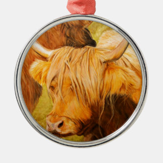 Highland cows, scottish cattle metal ornament