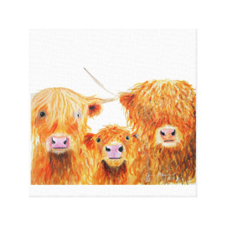 Highland Cows 'We 3 Coos' Box Canvas Print