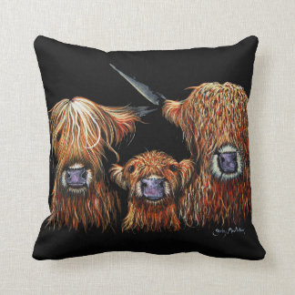 Highland Cows 'We 3 Coos on Black' Pillow Cushion