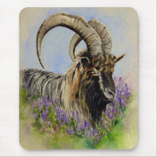 """""""Highland Goat"""" feral goat of Scotland and heather Mouse Pad"""