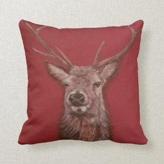 Highland Red Deer Stag Throw Pillow
