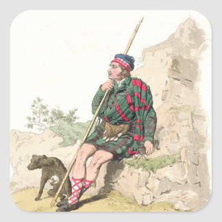 Highland Shepherd, from 'Costume of Great Britain' Square Stickers