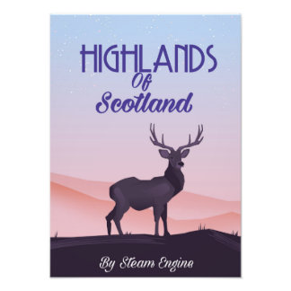 Highlands Of Scotland Stag travel poster Photo Print