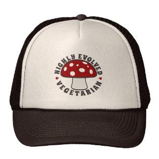 Highly Evolved Vegetarian - Eat Mushrooms! Red Trucker Hat