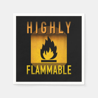Highly Flammable Warning Retro Atomic Age Grunge : Disposable Napkins