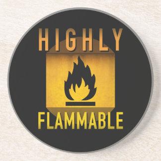 Highly Flammable Warning Retro Atomic Age Grunge : Drink Coaster
