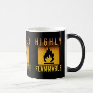 Highly Flammable Warning Retro Atomic Age Grunge : Magic Mug