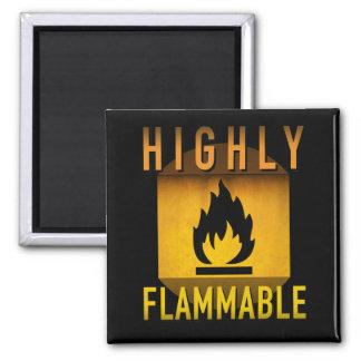 Highly Flammable Warning Retro Atomic Age Grunge : Magnet