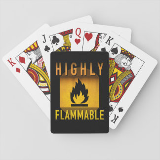 Highly Flammable Warning Retro Atomic Age Grunge : Playing Cards