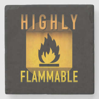 Highly Flammable Warning Retro Atomic Age Grunge : Stone Coaster