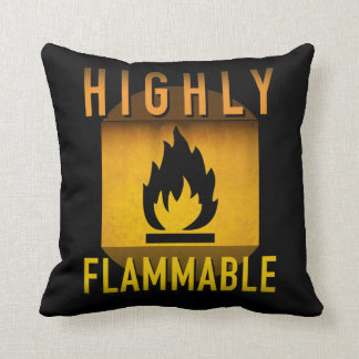 Highly Flammable Warning Retro Atomic Age Grunge : Throw Pillow