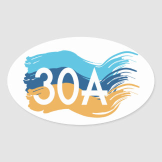 Highway 30A Florida Beach Swash Design Oval Sticker