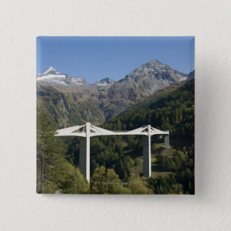 Highway bridge in the Alps 2 Inch Square Button