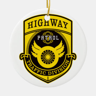 Highway Patrol Ceramic Ornament