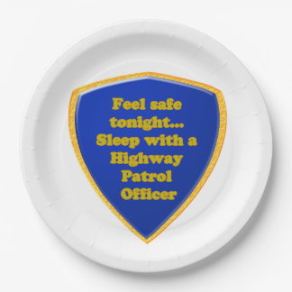 Highway Patrol Officer 9 Inch Paper Plate