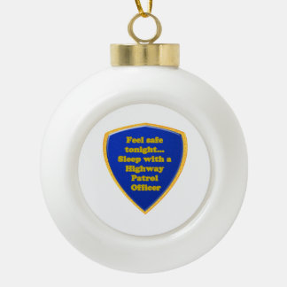 Highway Patrol Officer Ceramic Ball Christmas Ornament