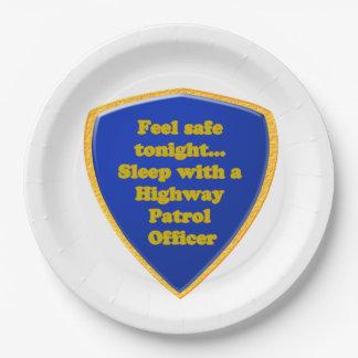 Highway Patrol Officer Paper Plate