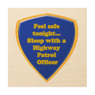 Highway Patrol Officer Wood Wall Art