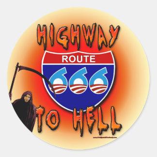 Highway To Hell Route 666 - Round Round Sticker