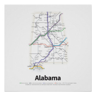 Highways of the USA - Alabama Poster