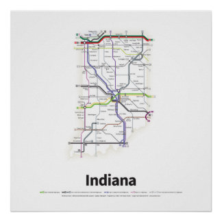 Highways of the USA - Indiana Poster