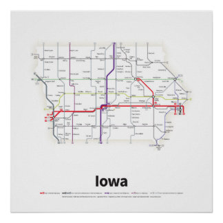 Highways of the USA - Iowa Poster