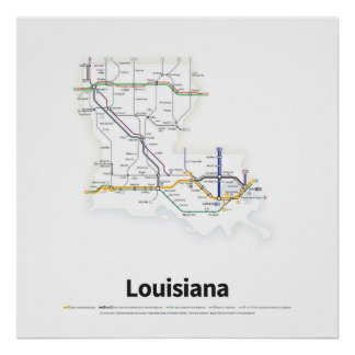 Highways of the USA - Louisiana Poster