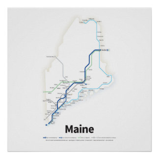 Highways of the USA - Maine Poster
