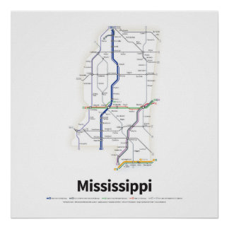 Highways of the USA - Mississippi Poster