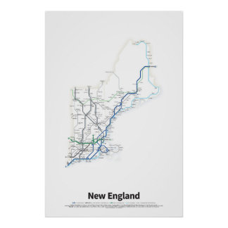 Highways of the USA - New England Poster