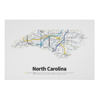 Highways of the USA - North Carolina Poster