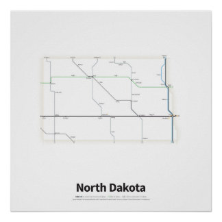 Highways of the USA - North Dakota Poster