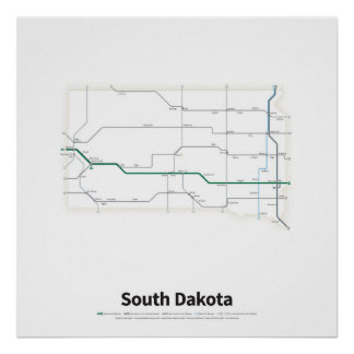 Highways of the USA - South Dakota Poster