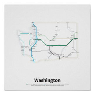 Highways of the USA - Washington State Poster