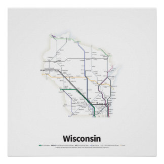 Highways of the USA - Wisconsin Poster