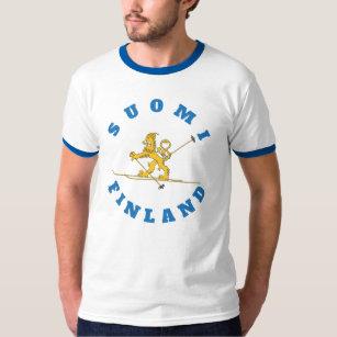Hiihtävä suomileijona - pipolla - Suomi - t-paita T-Shirt aa06cc36f4