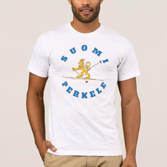 Hiihtävä suomileijona - Suomi Perkele - t-paita T-Shirt