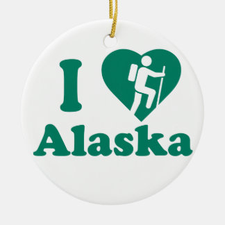 Hike Alaska Round Ceramic Ornament