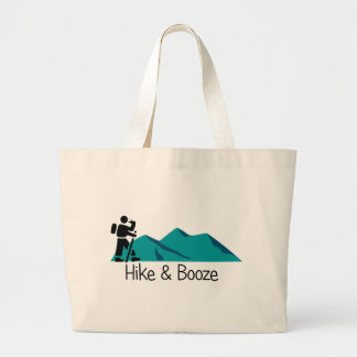 hike and booze large tote bag