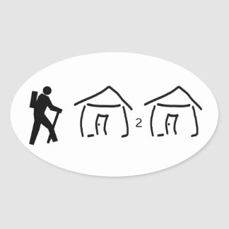 Hike Hut to Hut Oval Sticker