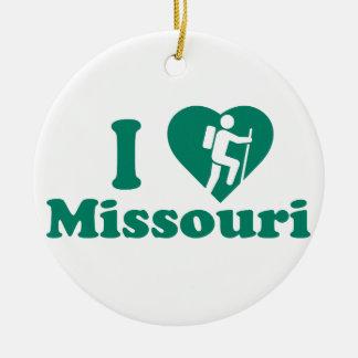 Hike Missouri Round Ceramic Ornament
