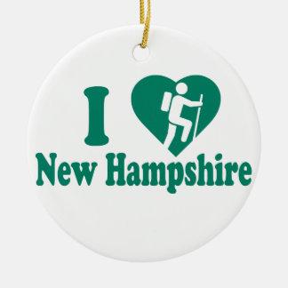 Hike New Hampshire Round Ceramic Ornament