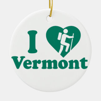 Hike Vermont Round Ceramic Ornament