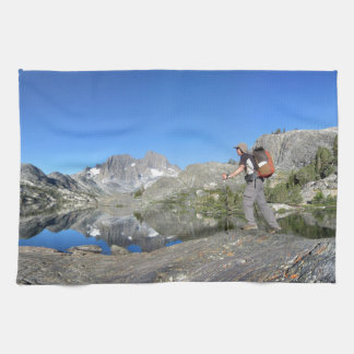 Hiker by Garnet Lake Banner Peak - John Muir Trail Towel